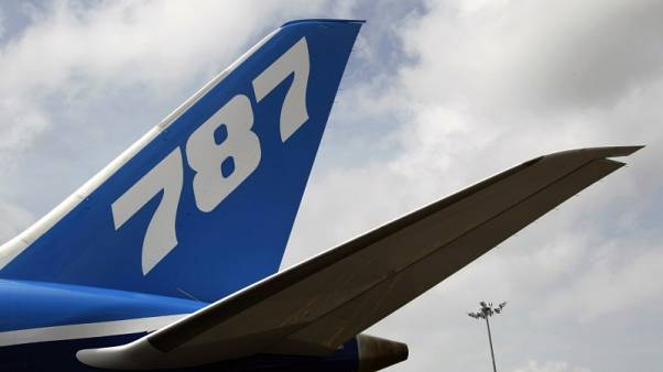 FILE PHOTO - The tail wing of a Boeing 787-8 Dreamliner aircraft is pictured at the Singapore Airshow in Singapore February 14, 2012.  REUTERS/Tim Chong