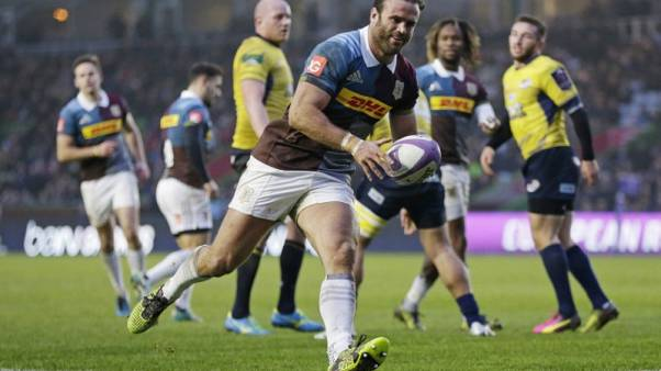 Britain Rugby Union - Harlequins v Timisoara Saracens - European Rugby Challenge Cup Pool Five - Twickenham Stoop - 17/12/16 Jamie Roberts of Harlequins scores their fourth try Action Images via Reuters / Henry Browne Livepic