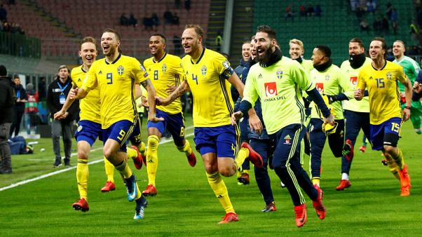 Soccer Football - 2018 World Cup Qualifications - Europe - Italy vs Sweden - San Siro, Milan, Italy - November 13, 2017   Sweden celebrate after the match                  REUTERS/Alessandro Garofalo