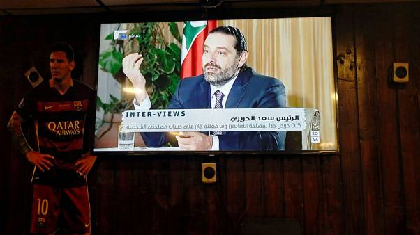FILE PHOTO - Lebanon's Prime Minister Saad al-Hariri, who has resigned, is seen during Future television interview, in a coffee shop in Beirut, Lebanon November 12, 2017. REUTERS/Jamal Saidi