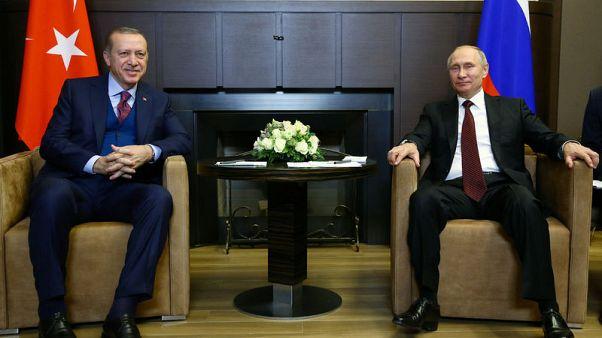Turkish President Tayyip Erdogan meets with Russian President Vladimir Putin in Sochi, Russia, November 13, 2017. Kayhan Ozer/Presidential Palace/Handout via REUTERS