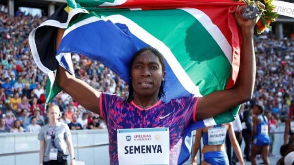 Athletics - 76th ISTAF Berlin - Berlin, Germany - August 27, 2017  South Africa's Caster Semenya celebrates winning the Women's 600m  REUTERS/Fabrizio Bensch