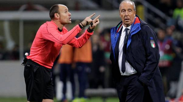 Soccer Football - 2018 World Cup Qualifications - Europe - Italy vs Sweden - San Siro, Milan, Italy - November 13, 2017   Italy coach Gian Piero Ventura and referee Antonio Miguel Mateu Lahoz      REUTERS/Max Rossi