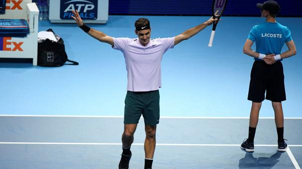 Tennis - ATP World Tour Finals - The O2 Arena, London, Britain - November 16, 2017   Switzerland's Roger Federer celebrates after winning his group stage match against Croatia's Marin Cilic   REUTERS/Toby Melville