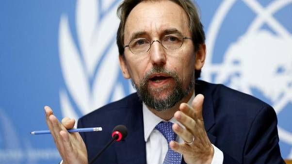 Zeid Ra'ad Al Hussein, U.N. High Commissioner for Human Rights gestures during a news conference at the United Nations Office in Geneva, Switzerland August 30, 2017.  REUTERS/Denis Balibouse