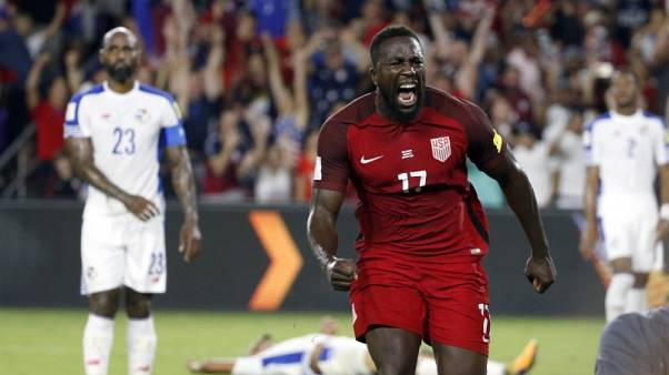 Oct 6, 2017; Orlando, FL, USA; USA forward Jozy Altidore (17) celebrates as he scores a goal against the Panama during the first half at Orlando City Stadium. Mandatory Credit:  Kim Klement-USA TODAY Sports