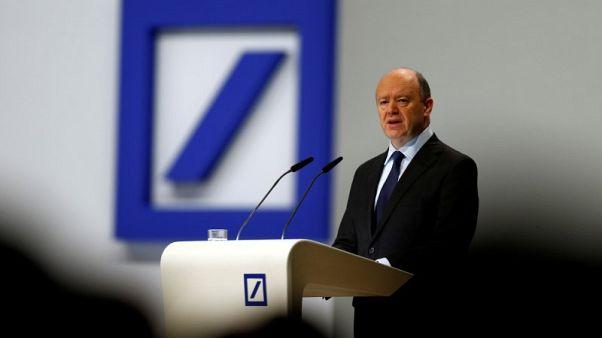 FILE PHOTO: Deutsche Bank CEO John Cryan speaks at the bank's annual general meeting in Frankfurt, Germany May 18, 2017.  REUTERS/Ralph Orlowski /File Photo
