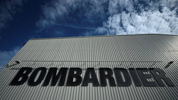 The Bombardier logo is seen at the Bombardier factory in Belfast, Northern Ireland September 26, 2017. Picture taken September 26, 2017. REUTERS/Clodagh Kilcoyne