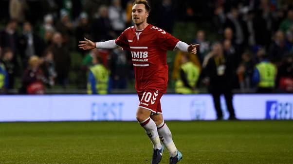 FILE PHOTO - Soccer Football - 2018 World Cup Qualifications - Europe - Republic of Ireland vs Denmark - Aviva Stadium, Dublin, Republic of Ireland - November 14, 2017   Denmark's Christian Eriksen celebrates after the match    REUTERS/Clodagh Kilcoyne