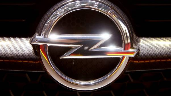 FILE PHOTO: The logo of Opel is seen during the 87th International Motor Show at Palexpo in Geneva, Switzerland March 7, 2017. REUTERS/Arnd Wiegmann/File Photo