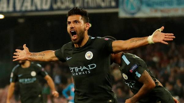 Soccer Football - Champions League - S.S.C. Napoli vs Manchester City - Stadio San Paolo, Naples, Italy - November 1, 2017   Manchester City's Sergio Aguero celebrates scoring their third goal    Action Images via Reuters/Andrew Boyers
