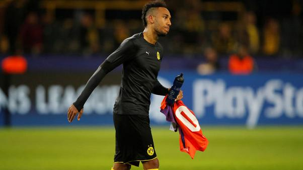 Soccer Football - Champions League - Borussia Dortmund vs Apoel Nicosia - Signal Iduna Park, Dortmund, Germany - November 1, 2017   Borussia Dortmund's Pierre-Emerick Aubameyang looks dejected after the match   REUTERS/Wolfgang Rattay