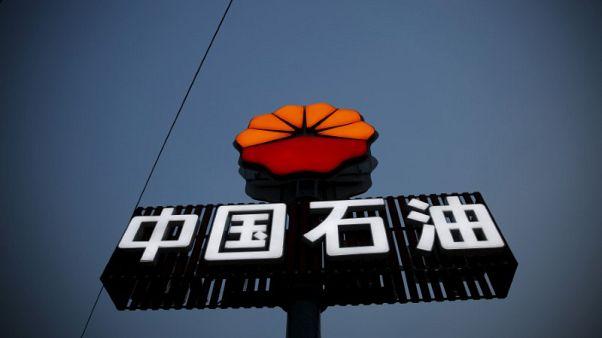 صورة من أرشيف رويترز لشعار بتروتشاينا على محطة وقود في بكين.