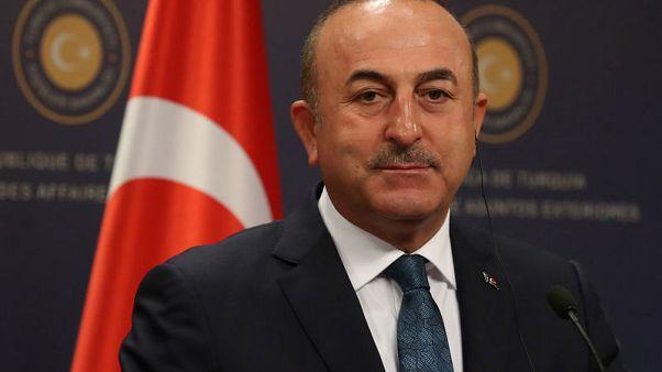 وزير الخارجية التركي مولود تشاووش أوغلو في مؤتمر صحفي في أنقرة يوم 24 أكتوبر تشرين الأول 2017. تصوير: أوميت بكطاش - رويترز