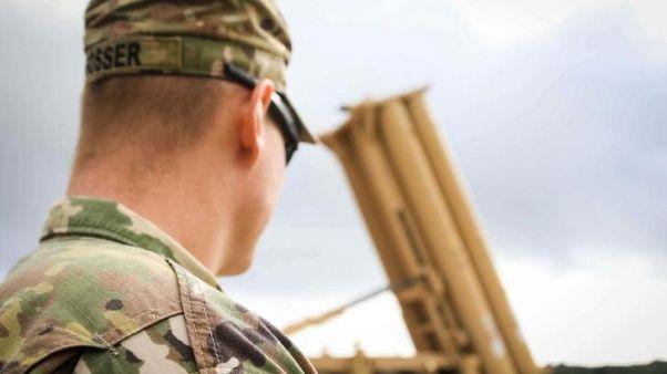 بطارية صواريخ ضمن نظام ثاد داخل قاعدة للجيش الأمريكي في جوام يوم 26 اكتوبر تشرين الأول 2017 - صورة لرويترز من الجيش الأمريكي