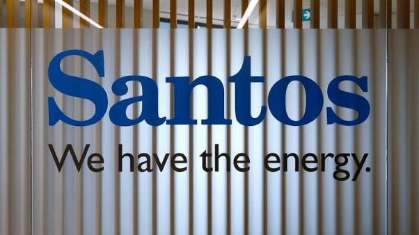 FILE PHOTO - The logo of Australian oil and gas producer Santos Ltd is pictured at their Sydney office February 15, 2016.  REUTERS/Jason Reed/File photo