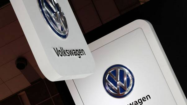 Volkswagen's logos are pictured at the 45th Tokyo Motor Show in Tokyo, Japan October 25, 2017. REUTERS/Kim Kyung-Hoon