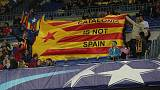 Soccer Football - Champions League - FC Barcelona vs Olympiacos - Camp Nou, Barcelona, Spain - October 18, 2017   Fans in the stands display the Estelada (Catalan flag of independence)   REUTERS/Albert Gea
