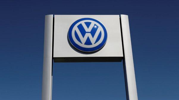 FILE PHOTO -  A Volkswagen logo is seen at Serramonte Volkswagen in Colma, California, U.S., October 3, 2017. REUTERS/Stephen Lam/File Photo