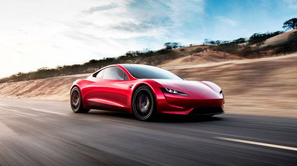 Tesla Roadster 2 is shown in this undated handout photo, during a presentation in Hawthorne, California, U.S., November 16, 2017. Tesla/Handout via REUTERS