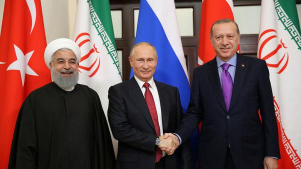 Presidents Tayyip Erdogan of Turkey, Vladimir Putin of Russia and Hassan Rouhani of Iran meet in Sochi, Russia, November 22, 2017. Kayhan Ozer/Turkish Presidential Palace/Handout via REUTERS