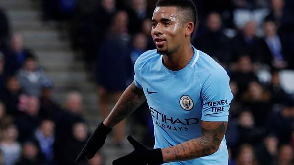 Soccer Football - Premier League - Leicester City vs Manchester City - King Power Stadium, Leicester, Britain - November 18, 2017   Manchester City's Gabriel Jesus celebrates scoring their first goal         Action Images via Reuters/Andrew Couldridge