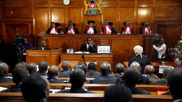 Kenya's Supreme Court judges attend a hearing regarding petitions challenging the result of the presidential election rerun at Kenya's Supreme Court in Nairobi, Kenya November 14, 2017. REUTERS/Baz Ratner