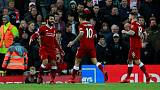 Soccer Football - Premier League - Liverpool vs Southampton - Anfield, Liverpool, Britain - November 18, 2017   Liverpool's Mohamed Salah celebrates with Philippe Coutinho after scoring their second goal    Action Images via Reuters/Jason Cairnduff