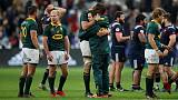 Rugby Union - Autumn Internationals - France vs South Africa - Stade de France, Saint-Denis, France - November 18, 2017   South Africa players celebrate victory after the match     REUTERS/Christian Hartmann