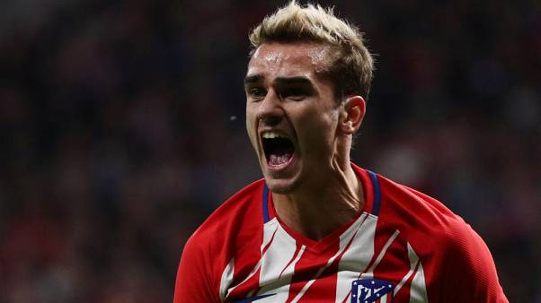 Soccer Football - La Liga Santander - Atletico Madrid v Real Madrid - Wanda Metropolitano, Madrid, Spain - November 18, 2017   Atletico Madrid's Antoine Griezmann reacts   REUTERS/Juan Medina