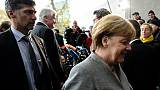 Angela Merkel arrive à des pourparlers sur la formation d'un gouvernement de coalition le 17 novembre 2017 à Berlin