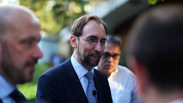 U.N. High Commissioner for Human Rights Zeid Ra'ad Al Hussein speaks at the Central American University (UCA) in San Salvador November 16, 2017. REUTERS/Jose Cabezas