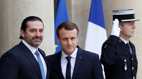 French President Emmanuel Macron and Saad al-Hariri, who announced his resignation as Lebanon's prime minister while on a visit to Saudi Arabia, are pictured at the Elysee Palace in Paris, France, November 18, 2017. REUTERS/Gonzalo Fuentes