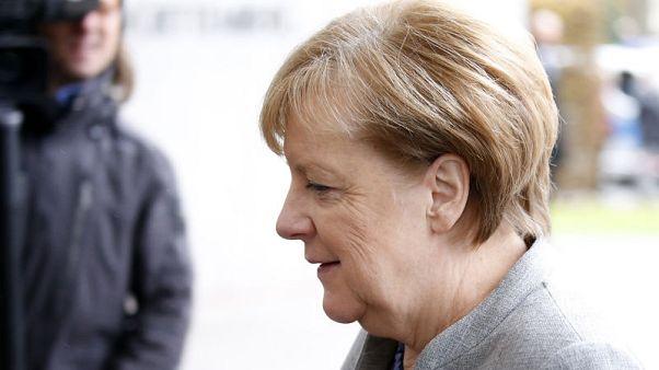 المستشارة الألمانية أنجيلا ميركل في برلين يوم الاحد. تصوير: اكسل شميت - رويترز.