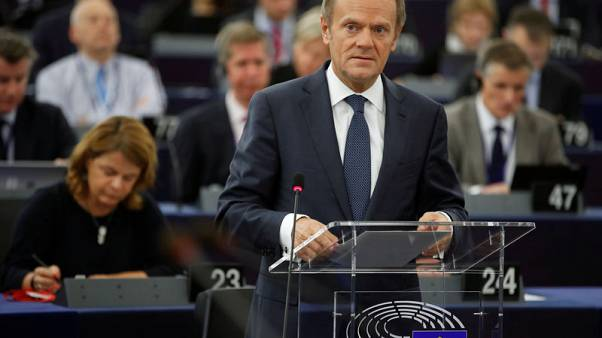 FILE PHOTO - European Council President Donald Tusk attends a debate on the outcome of the last European summit at the European Parliament in Strasbourg, France, October 24, 2017.  REUTERS/Christian Hartmann