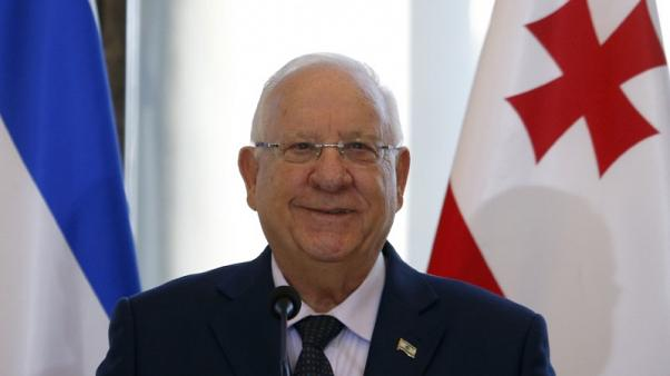 FILE PHOTO - Israeli President Reuven Rivlin attends a news conference after a meeting with Georgian President Georgy Margvelashvili in Tbilisi, Georgia, January 9, 2017. REUTERS/David Mdzinarishvili