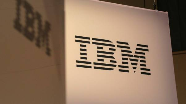 FILE PHOTO - The logo for IBM is seen at the SIBOS banking and financial conference in Toronto, Ontario, Canada October 19, 2017. REUTERS/Chris Helgren