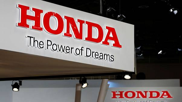 FILE PHOTO - The logos of Honda Motor Co. is pictured at the 45th Tokyo Motor Show in Tokyo, Japan October 25, 2017. Picture taken October 25, 2017.  REUTERS/Toru Hanai