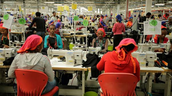 Workers sew clothes inside the Indochine Apparel PLC textile factory in Hawassa Industrial Park in Southern Nations, Nationalities and Peoples region, Ethiopia November 17, 2017. REUTERS/Tiksa Negeri