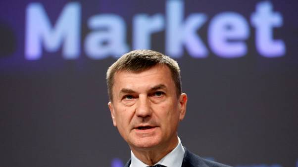 European Commission Vice-President Andrus Ansip addresses a news conference on Digital Single Market at the EU Commission headquarters in Brussels, Belgium May 10, 2017.  REUTERS/Francois Lenoir