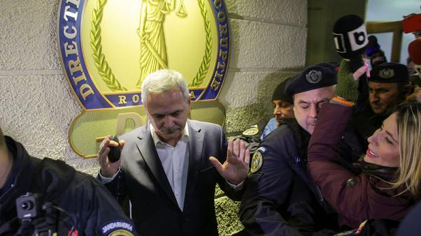 Social Democrat Party leader Liviu Dragnea gestures after leaving the Romanian anti-corruption prosecutors headquarters in Bucharest, Romania, November 21, 2017. Inquam Photos/Octav Ganea via REUTERS