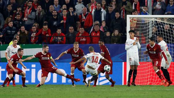 Soccer Football - Champions League - Sevilla vs Liverpool - Ramon Sanchez Pizjuan, Seville, Spain - November 21, 2017   Sevilla's Guido Pizarro scores their third goal    Action Images via Reuters/Matthew Childs