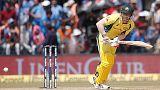 Cricket - India v Australia - Third One Day International Match - Indore, India – September 24, 2017 – Australia's David Warner plays a shot. REUTERS/Adnan Abidi