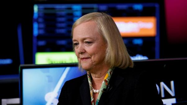 FILE PHOTO - Hewlett Packard Enterprise CEO Meg Whitman is seen following an interview on CNBC on the floor of the New York Stock Exchange (NYSE) in New York, U.S., September 6, 2017. REUTERS/Brendan McDermid