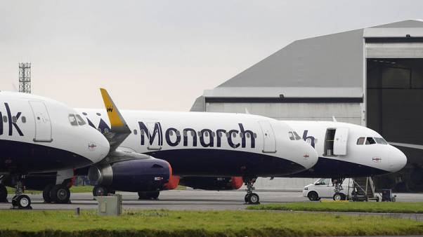 FILE PHOTO: Monarch airplanes are seen parked on the runway at Newquay airport, Newquay, Britain, October 26, 2017, REUTERS/Toby Melville/File Photo