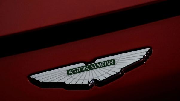 A company logo is seen on the new Aston Martin Vantage car at a media event in Gaydon, Britain November 20, 2017. REUTERS/Phil Noble