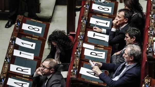 Opposizione vota contro, protesta Mdp-Si con cartelli in Aula