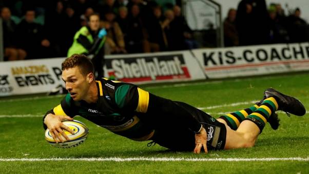 Rugby Union - Premiership - Northampton Saints vs Bath Rugby - Franklin's Gardens, Northampton, Britain - September 15, 2017   Northampton Saints' George North scores a try   Action Images/Andrew Boyers