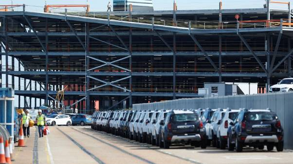 FILE PHOTO - Imported cars are parked in a storage area at Sheerness port, Sheerness, Britain, October 24, 2017.    REUTERS/Peter Nicholls