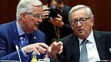 European Union's chief Brexit negotiator Michel Barnier and European Commission President Jean-Claude Juncker take part in an EU summit in Brussels, Belgium October 20, 2017. REUTERS/Dario Pignatelli